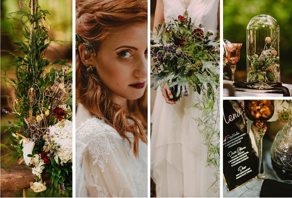 Bajkowa opowieść ślubna w leśnym otoczeniu