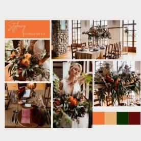 Stylowy pomarańcz, eleganckie bordo i romantyczna brzoskwinia - tablice inspiracji ślubnych