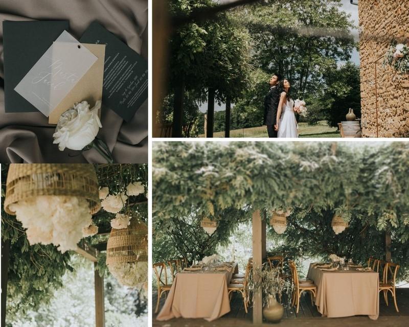 Stylowe plenerowe wesele w szarości i bieli - sesja ślubna