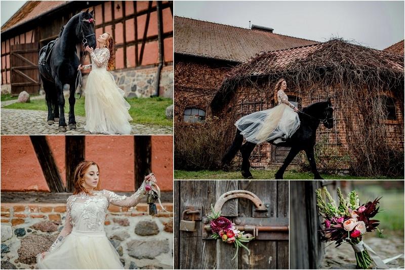 Klimatyczna mazurska sesja ślubna z końmi