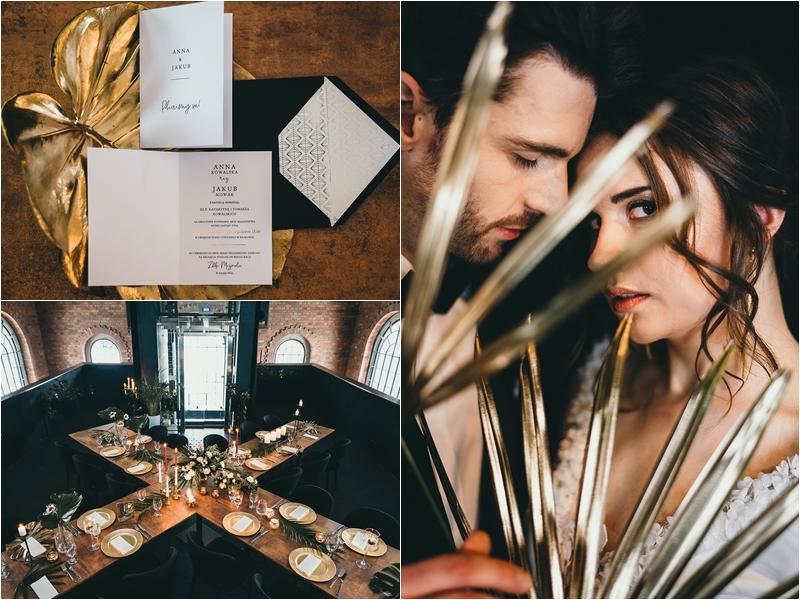 Modern Glam w eleganckim wydaniu - nowoczesna sesja ślubna w odcieniach czerni i złota