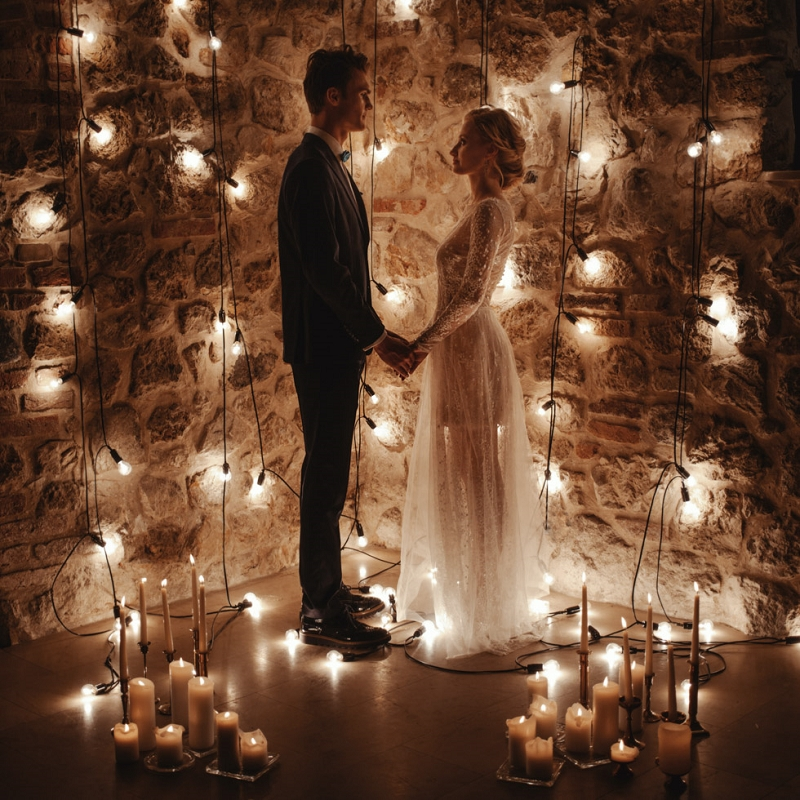 Pomysł na przyjęcie weselne w klimatycznych, piwnicznych wnętrzach – sesja ślubna