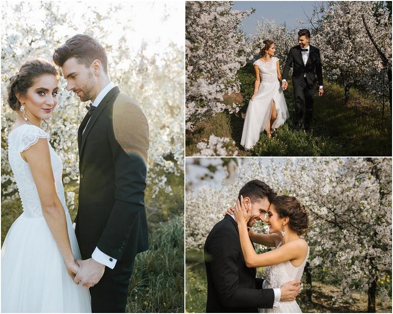 Wiśniowy sad w pomyśle na sesję ślubną